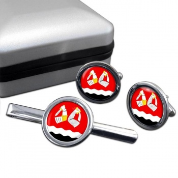 South Karelia (Etela-Karjala) Round Cufflink and Tie Clip Set