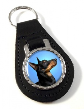 English Toy Terrier (Black & Tan) Leather Key Fob