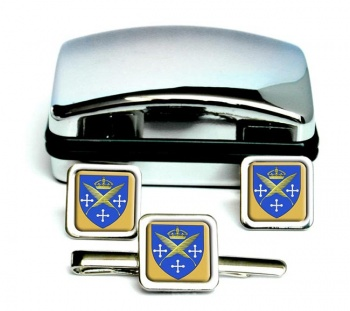 Saint-Etienne (France) Square Cufflink and Tie Clip Set