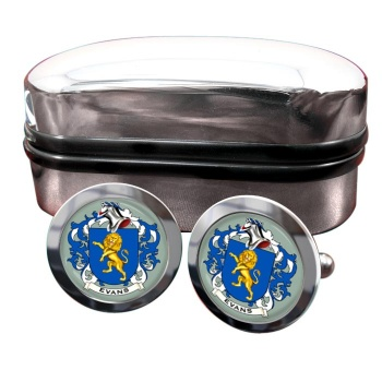 Evans Coat of Arms Round Cufflinks