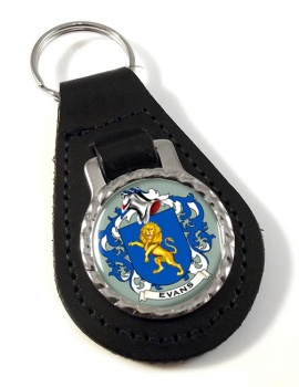 Evans Coat of Arms Leather Key Fob