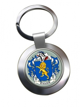 Evans Coat of Arms Chrome Key Ring