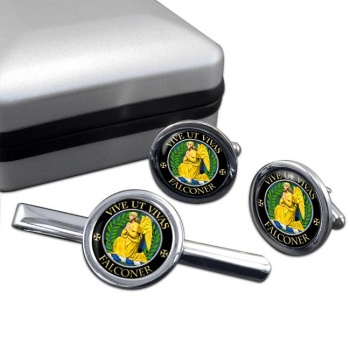 Falconer Scottish Clan Round Cufflink and Tie Clip Set