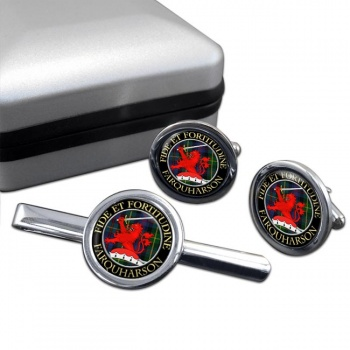 Farquharson Scottish Clan Round Cufflink and Tie Clip Set