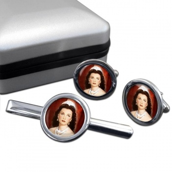 Fawzia of Egypt Round Cufflink and Tie Clip Set