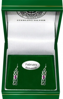 February Birthstone Drop Earring