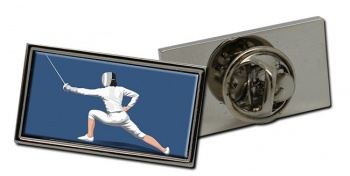 Fencing Rectangle Pin Badge