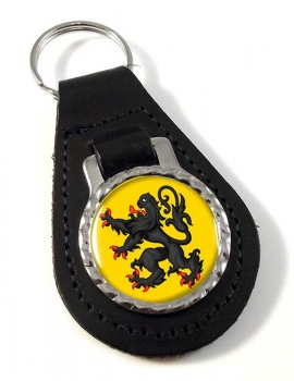 Vlaanderen Flandre (Belgium) Leather Key Fob