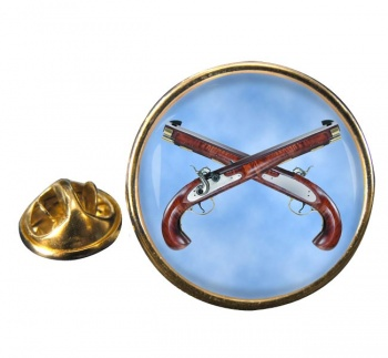 Flintlock Pistols Round Pin Badge
