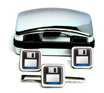 Floppy Disk Square Cufflink and Tie Clip Set
