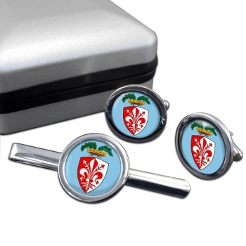 Florence Firenze (Italy) Round Cufflink and Tie Clip Set
