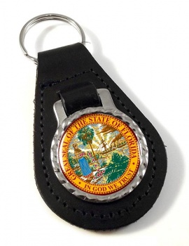 Florida  Leather Key Fob