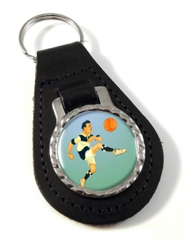 Football Leather Key Fob