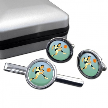 Football Round Cufflink and Tie Clip Set