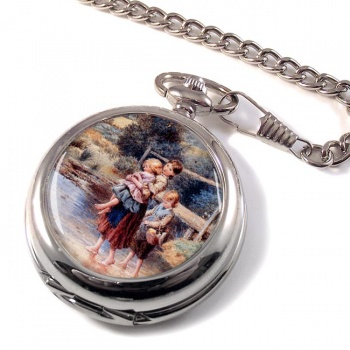 Children Paddling In A Stream by Foster Pocket Watch