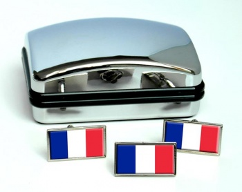 France (Flag) Flag Cufflink and Tie Pin Set