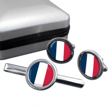 France (Flag) Round Cufflink and Tie Clip Set