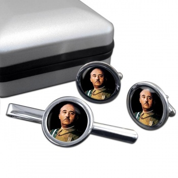 Generalissimo Franco Round Cufflink and Tie Clip Set