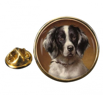 French Spaniel Round Pin Badge