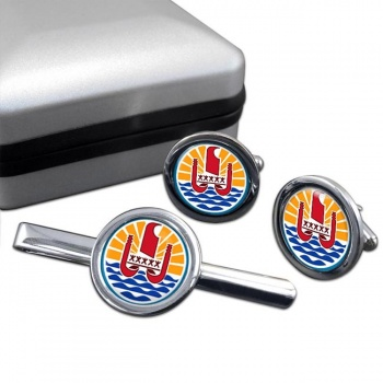 Polynesie francaise (French Polynesia) Round Cufflink and Tie Clip Set
