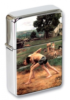 La Lutte by Emile Friant Flip Top Lighter