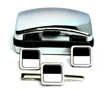 Fribourg (Switzerland) Square Cufflink and Tie Clip Set
