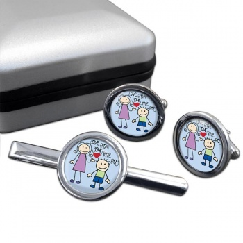 Love From Your Little Boy Round Cufflink and Tie Clip Sert