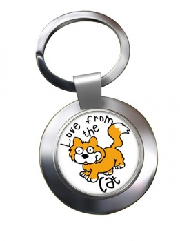 Love from the cat Chrome Key Ring