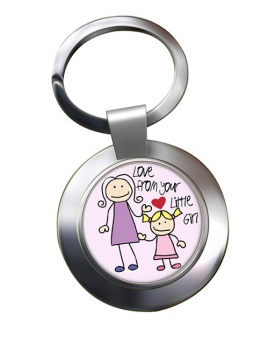 Love From Your Little Girl Chrome Key Ring