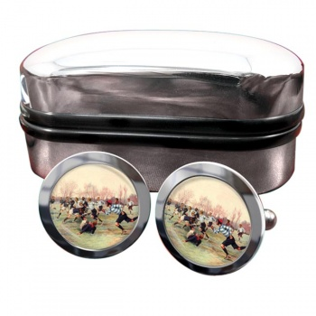French Rugby at St. Cloud 1906 Round Cufflinks