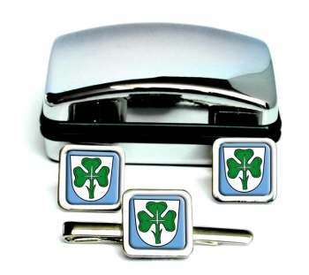 Furth (Germany) Square Cufflink and Tie Clip Set