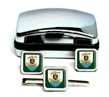 Galway City (Ireland) Square Cufflink and Tie Clip Set