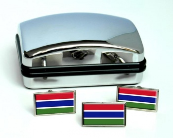 Gambia Flag Cufflink and Tie Pin Set