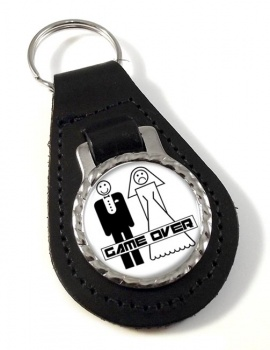 Game Over Divorced Leather Key Fob