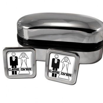 Game Over Divorced Square Cufflinks