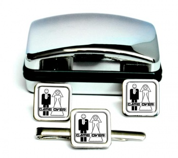 Game Over Divorced Square Cufflink and Tie Clip Set
