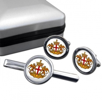 Genoa (Italy) Round Cufflink and Tie Clip Set