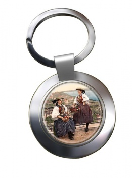 German National Costume Chrome Key Ring
