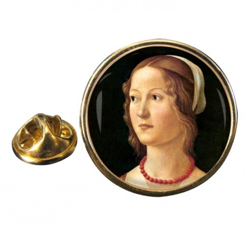 Young Woman by Domenico Ghirlandaio Pin Badge