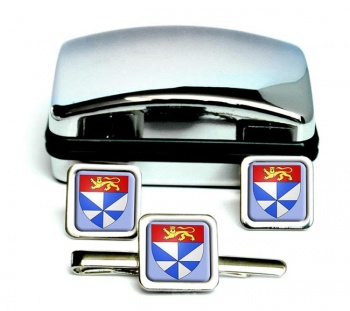 Gironde (France) Square Cufflink and Tie Clip Set