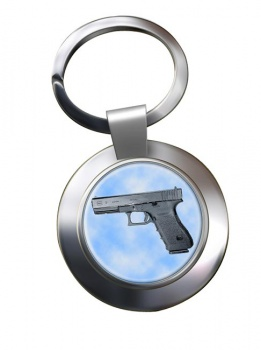 Glock 21 Pistol Chrome Key Ring