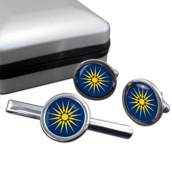 Macedonia (Greece) Round Cufflink and Tie Clip Set