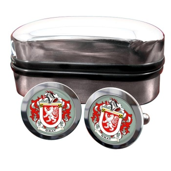 Gray Coat of Arms Round Cufflinks