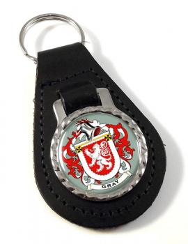Gray Coat of Arms Leather Key Fob