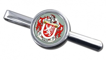 Gray Coat of Arms Round Tie Clip