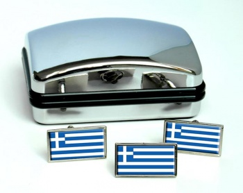 Greece Flag Cufflink and Tie Pin Set