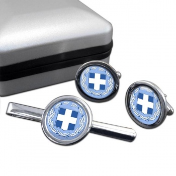 Greece Round Cufflink and Tie Clip Set