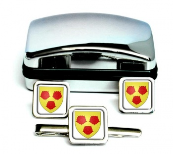 Grenoble (France) Square Cufflink and Tie Clip Set