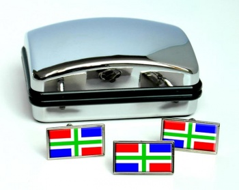 Groningen (Netherlands) Flag Cufflink and Tie Pin Set