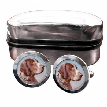 German Shorthaired Pointer by Carl Reichert  Round Cufflinks
